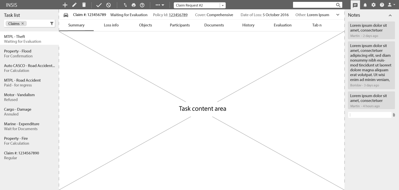 task list interface wireframe